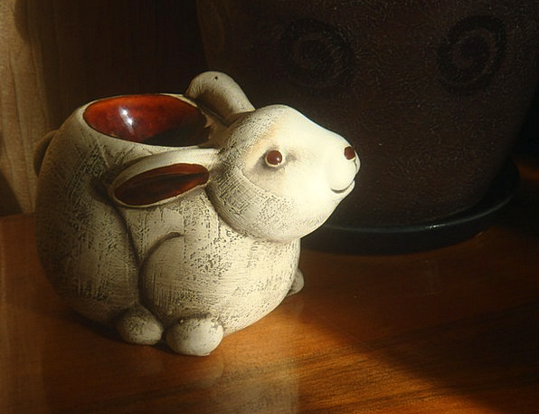 Hare Bunny Candlestick Candleholder Rabbit Ceramic