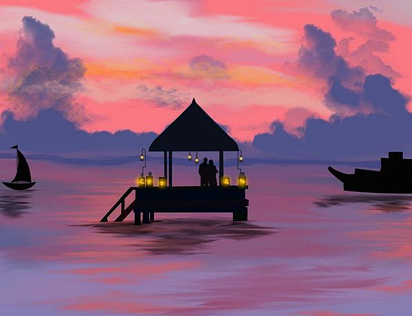 Landscape Scenery Landscapes Sundown Nature Boat S