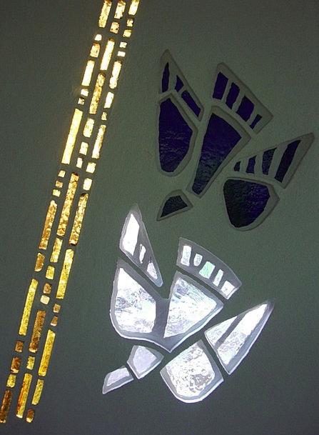 Baptismal Font Cut-glass Mosaic Medley Glass Dove