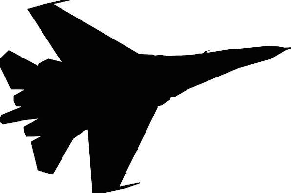 Fighter Jet Outline Plane Flat Silhouette Technolo