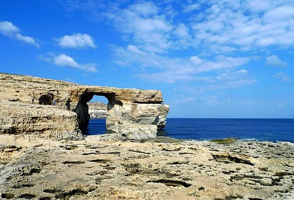 Felsentor Marine Gozo Sea Rock Formations Mediterr