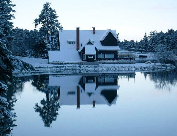 Cabin Hut Landscapes Snowflake Nature Winter Seaso