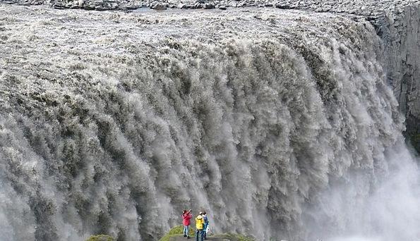 Detifoss Cascade Waterfall Iceland Water Aquatic R