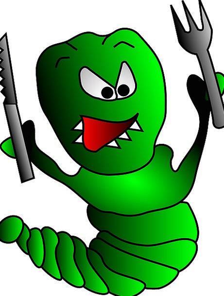 Hungry Worm Drink Blade Food Fork Divide Knife Lar