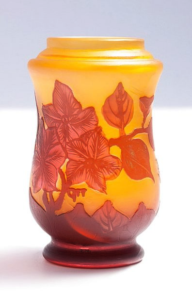 Vase Urn Cut-glass Émile Gallé Glass Orange Art No