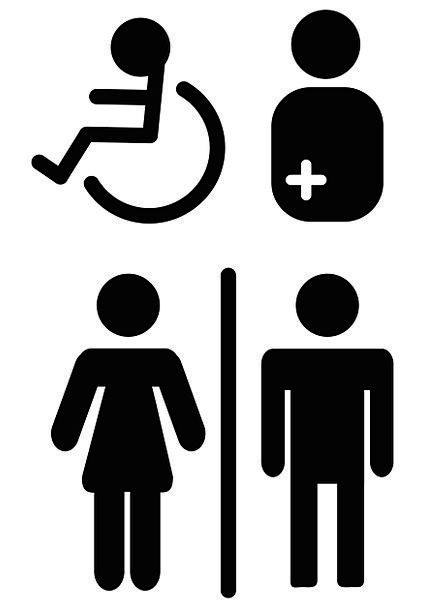 Wc Mark Lavatory People With Disabilities Toilet L