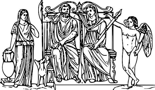 Zeus Enthroned Crowned Hera Juno King Monarch Myth