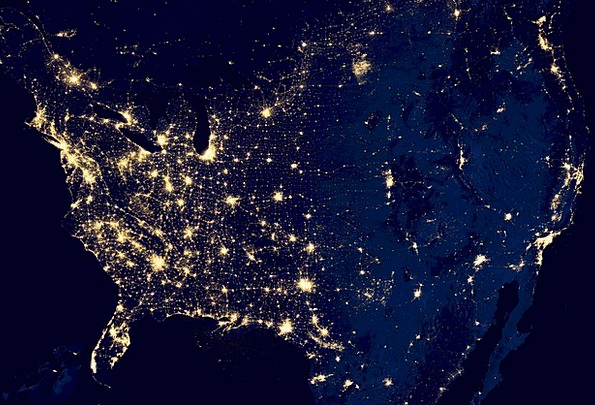 Usa, Space, Interplanetary, City Lights, Geography, Night ... on canada at night satellite, world map at night satellite, us map at night satellite,