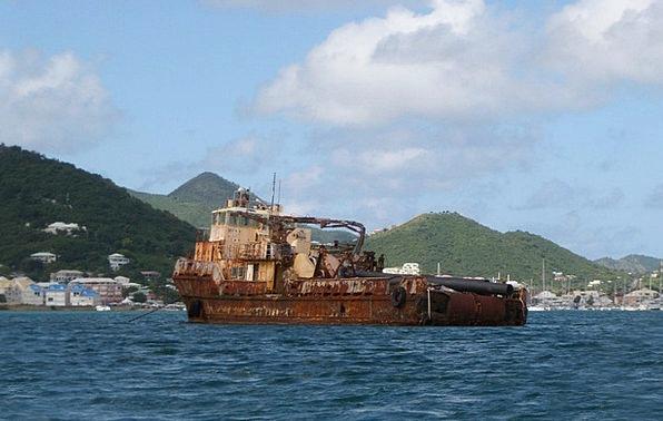 Mediterranean Sea Rusty Corroded Old Ship Ship Ves