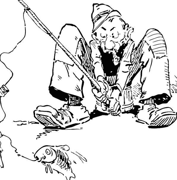 Fisherman Old Man Fishing Fishing Line Line Catchi