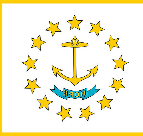 Flag Standard State National Rhode Island White Sy