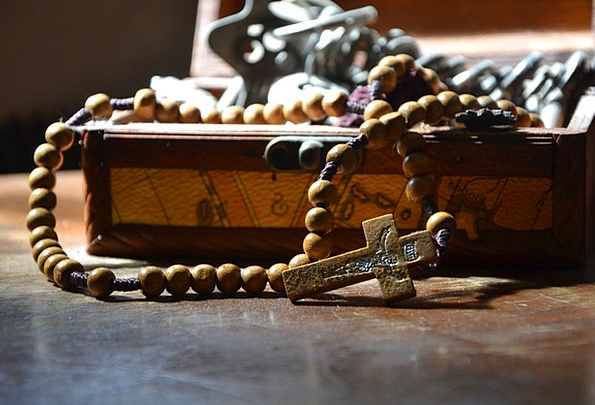 The Rosary Drops Christian Beads Cross Irritated