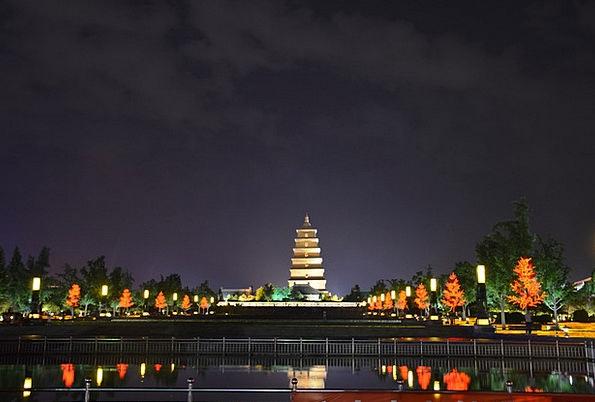 Xi'An Night View The Big Wild Goose Pagoda