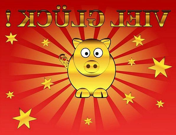 Lucky Pig Cheers Greeting Salutation Congratulatio
