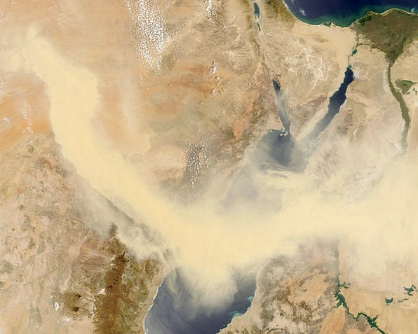 Red Sea Sandstorm Egypt Libya Satellite Image Nile