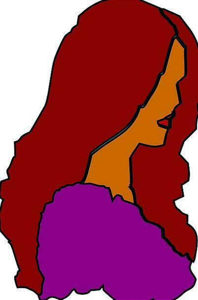 Woman Lady Fashion Outline Beauty Long Maroon Hair