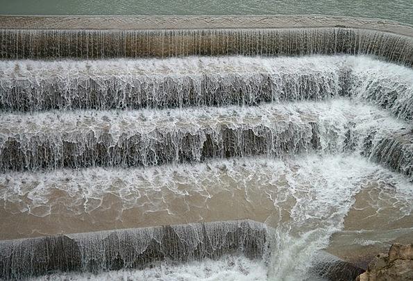Lechfall Dam Waterfall Cascade Weir Bubble Water A