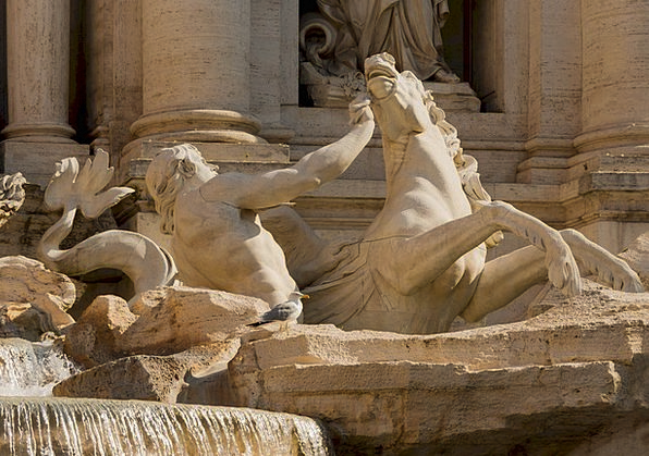 Trevi Fountain Monuments Places Italy Rome Marble