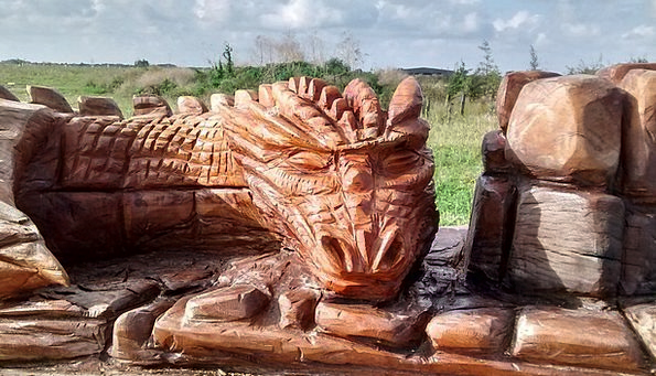 Dragon Landscapes Timber Nature Wood Carving Woode
