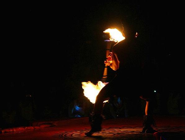 Fire Dancer Outline Entertainer Performer Silhouet