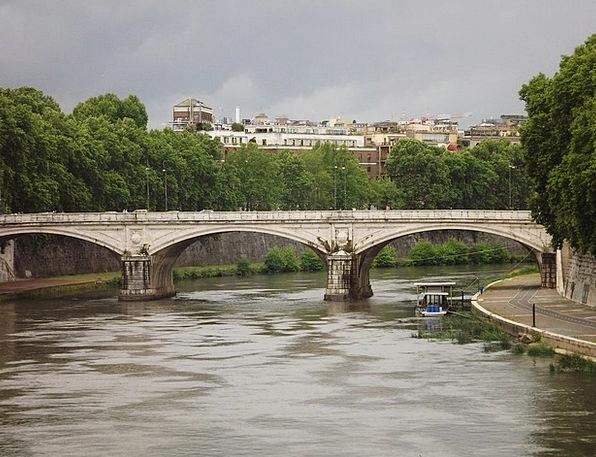 Rome Ponte St Angelo Tiber River Stream Bridge Of