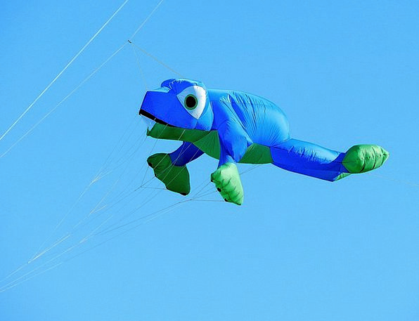 Balloon Inflatable Frog Dragons Blue Azure Fly Sky