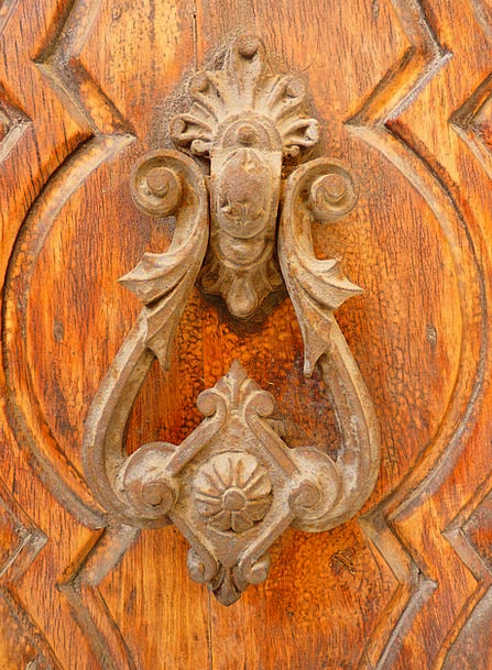 Doorknocker Entrance Wood Timber Door Metal Metall