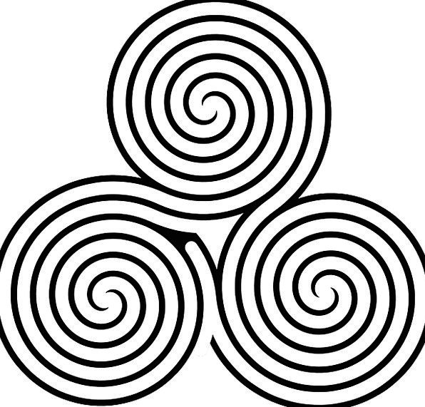 Celtic Twisting Triple Tripartite Spiral Ornament