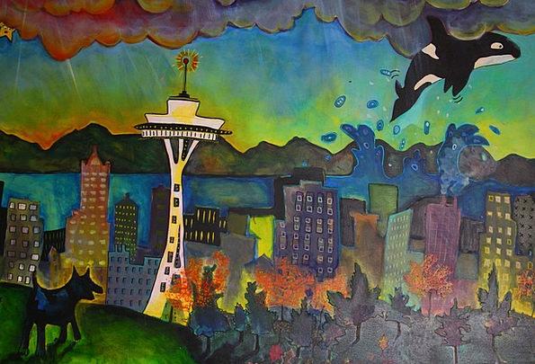 Seattle Mural Fresco Space Needle