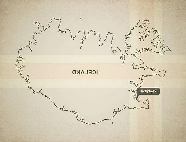 Outline Plan Chart Iceland Map Geography Topograph