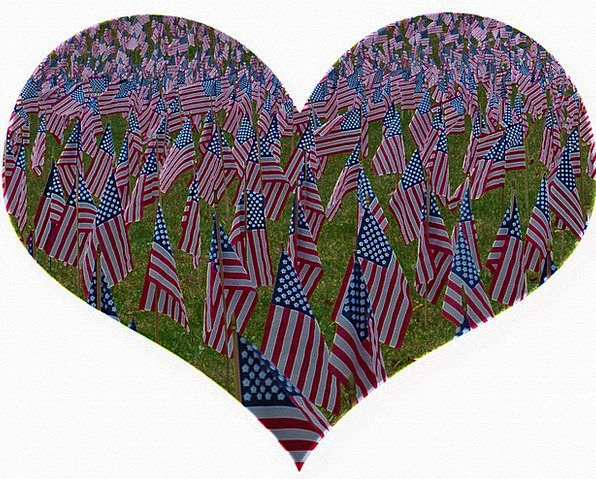Memorial Day Emotion Cut-Out Heart Usa Flags Strea