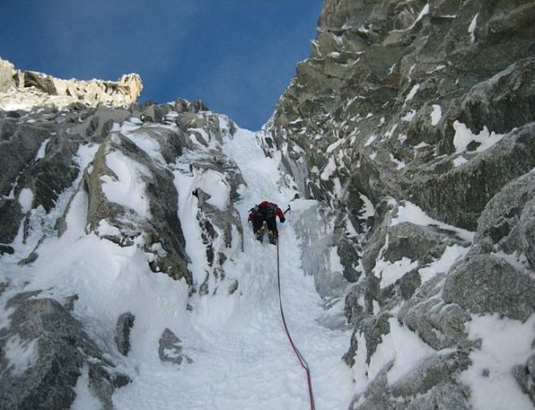 Icy Channel Mountaineering Mont Blanc Du Tacul Ice