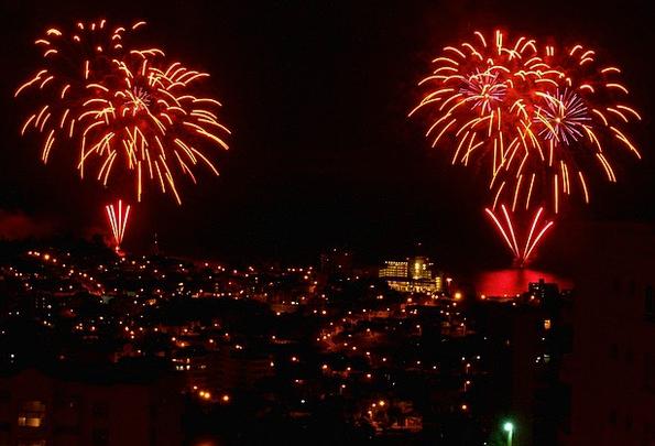 Fireworks Rockets Buildings Architecture Lights Il