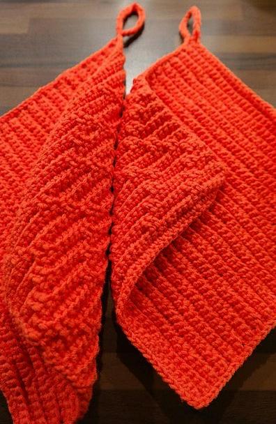 Oven Mitts Bloodshot Crochet Red Wool Angora Fabri