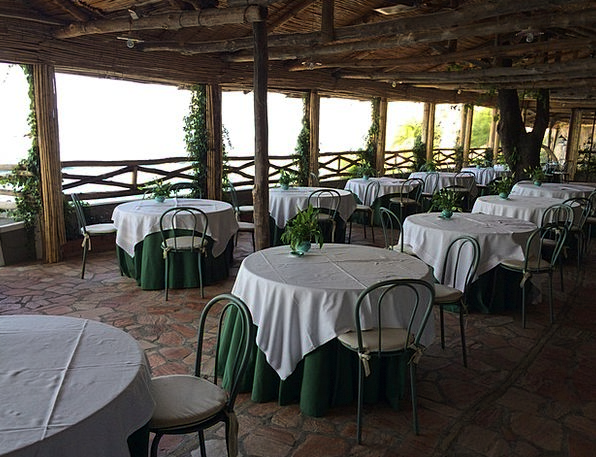 Restaurant Eatery Straw-hat Tables Benches Summer