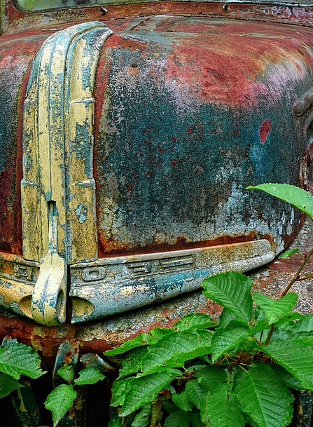 Old Ancient Traffic Corroded Transportation Truck