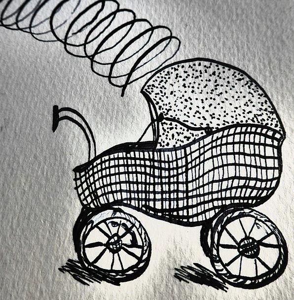 Hand Drawn Sketch Perambulator Birth Natal Baby Ca