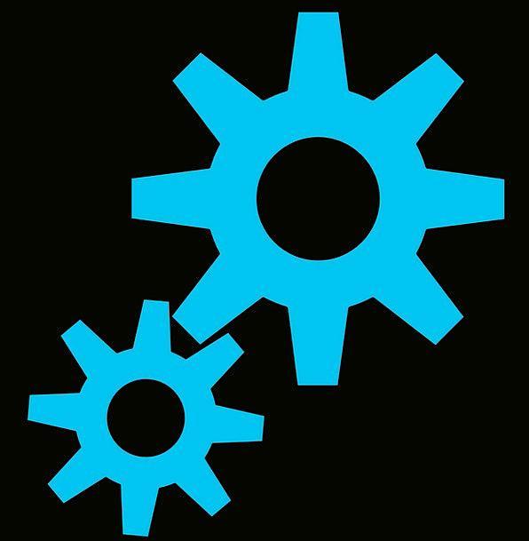 Engine Train Mechanisms Cogs Gears Blue Azure Forc