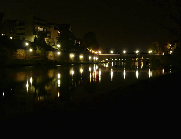 Night Photograph Illuminations River Stream Lights