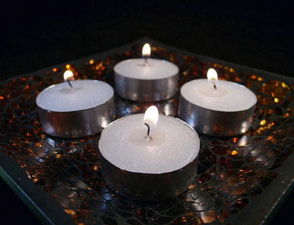 Candles Tapers Snowy Flames Fires White Decoration