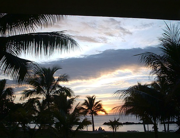 Mauritius Vacation Sundown Travel Palm Trees Sunse