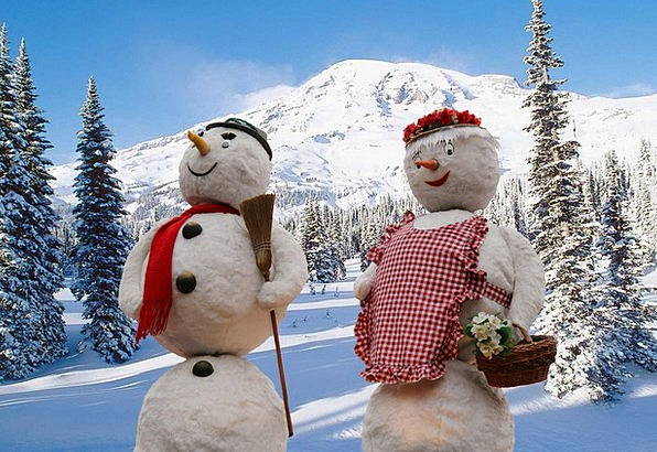Snowmen Season Snow Snowflake Winter Wintry Chilly