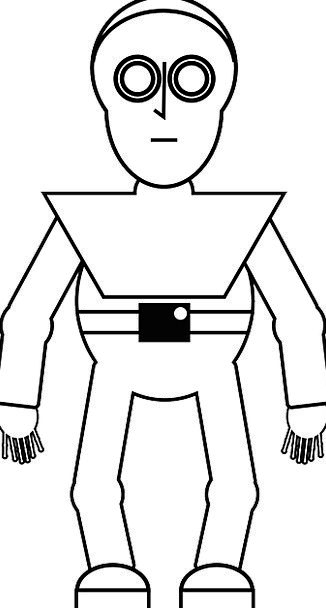 Robot Automaton Drawing Sketch Spaceman Outline Pl