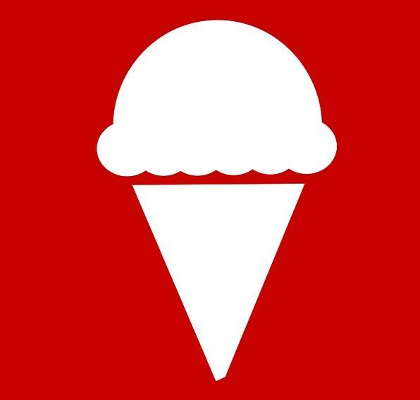 Ice Cream Sign Red Bloodshot Pictogram White Snowy