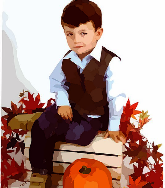 Boy Lad Youngster Autumn Child November Leaves Gre