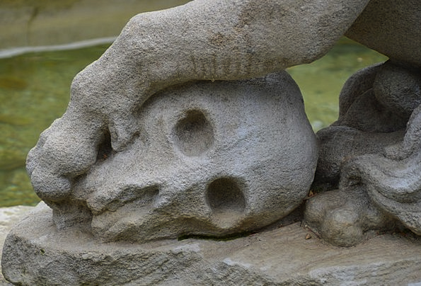 Skull Mind Figurine Italy Statue Rome Stone Face P