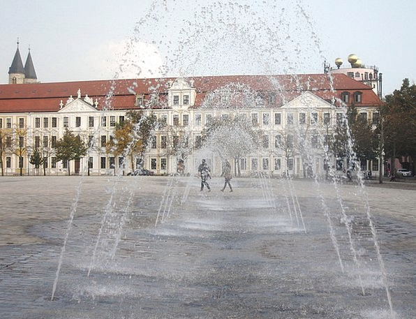 Fountain Cascade Church Square Magdeburg