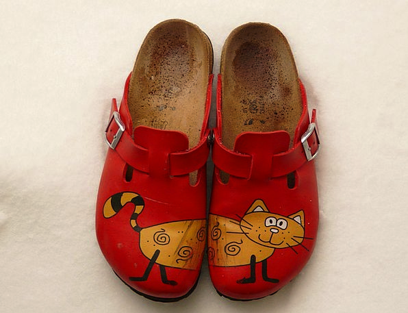 Slippers Cat Feline Birkenstock Red Bloodshot Clot
