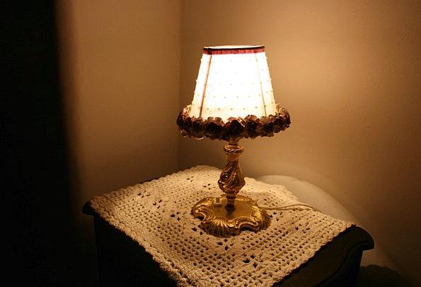 Lamp Uplighter Crochet Towel Nightstand