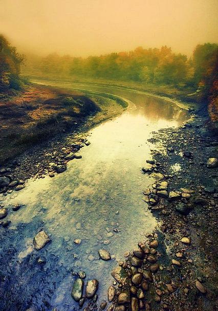 River Stream Landscapes Haze Nature Landscape Scen